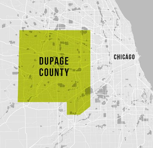 Map of DuPage County Illinois